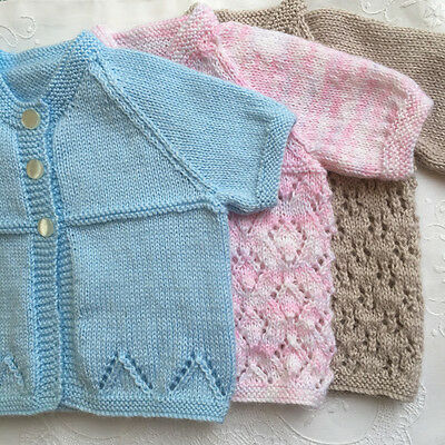 * 1 New Born Plus * Baby Jacket (Summer Short Sleeves) * 3 Colours * AustKnitted