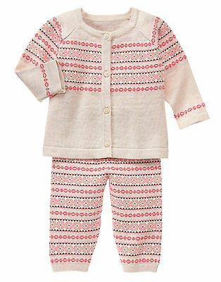 NWT Gymboree Forest Sprouts Fair Isle Cardigan Pants Outfit Set 2PC Baby Girl