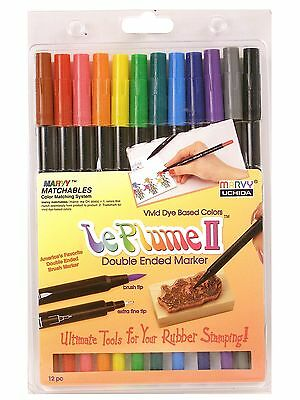 Le Plume II Double Ended Dye Based Marker Pens by Marvy Uchida. Set of 12