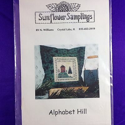 "Primitive Style Cross Stitch Chart ""Alphabet Hill"" by Sunflower Samplings"