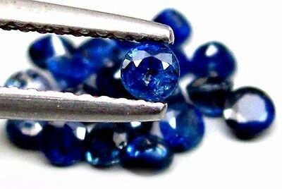 NATURAL SONGEA BLUE SAPPHIRE LOOSE GEMSTONE (3 pieces) ROUND CUT (2.5 mm)