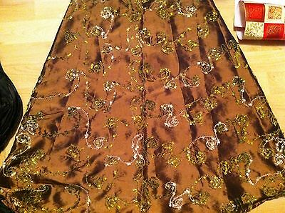 NWT ARIELLA ABSTRACT EMBROIDERED Swirl SHIMMER BRONZE A LINE holiday SKIRT S/M