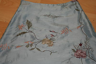 NWT SILK FABULOUS Brand SKY BLUE ASIAN INSPIRED EMBROIDERED A LINE SKIRT S/M