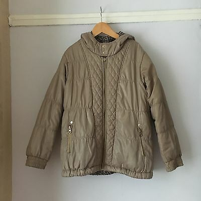 Girls River Island Reversible Hooded Quilted Coat Animal 9-10years