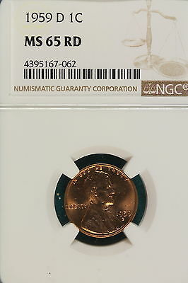 1959-D NGC MS65 RED Lincoln Memorial Cent!! #A6343