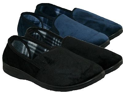 Mens Twin Side Gusset Bedroom/carpet Slippers In Black And Navy Sizes 6-12