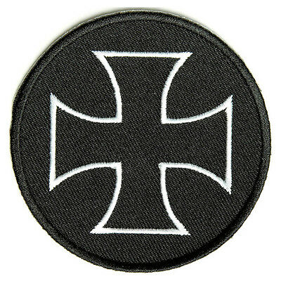 Embroidered Iron Cross Maltese Cross White on Black Iron on Patch Biker Patch
