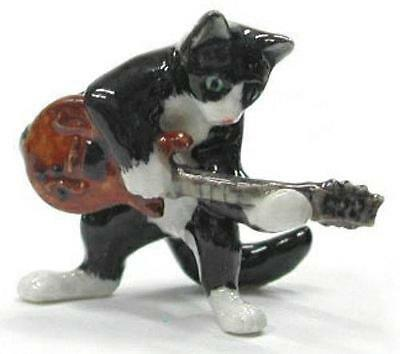 Northern Rose Miniature Porcelain Animal Musician Cat with Electric Guitar MB034