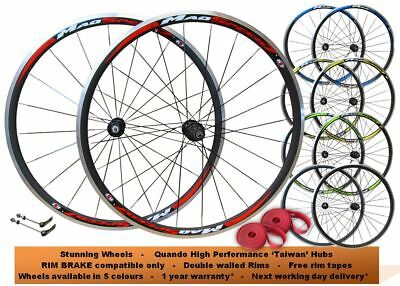 700c Road Racing Bike 8/9/10 Speed Wheel Set Shimano SRAM Freehub QR AERO Spokes