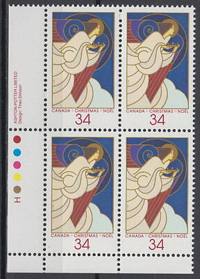 CANADA #1113 34¢ Christmas Angels LL Plate Block MNH