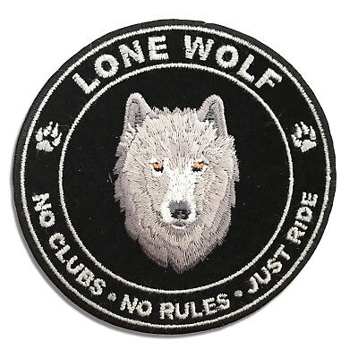 Lone Wolf No Clubs No Rules Just Ride Round Sew or Iron on Patch Biker Patch