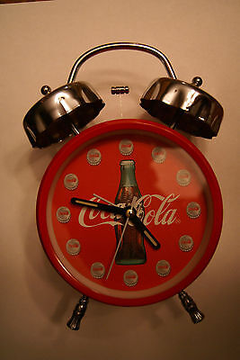 1996 COCA-COLA TWIN BELL BATTERY OPERATED ALARM CLOCK  collectable(no box)