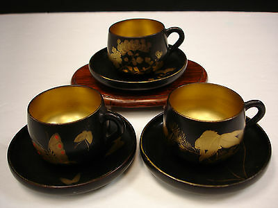 3 Sets Japanese Taisho Period Lacquer Wood Cup & Saucer