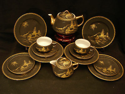 MARKED Shuzan JAPANESE TAISHO SATSUMA EGG SHELL CUP SAUCER PLATE TEA COFFEE SET