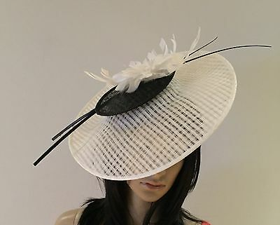 White And Black Wedding Disc Fascinator  Hat Occasion  Mother Of The Bride