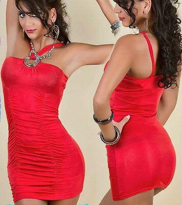 SeXy Miss Damen Gogo Mini Kleid Party Dress gerafft Ringe 34/36/38 TOP rot NEU