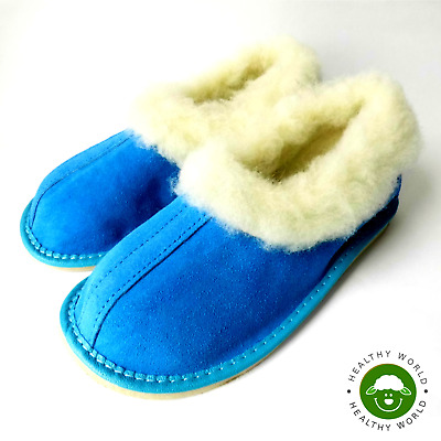 Women's Shoes, REAL SHEEP WOOL Slippers, Hard Rubber Sole, Blue