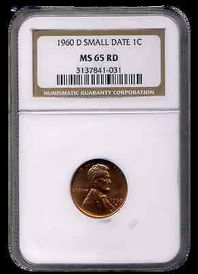 1960 D NGC MS65 RED SMALL DATE Lincoln Memorial Cent     Denver Mint