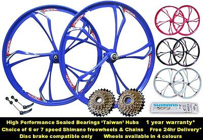 "26"" Magnesium Alloy Mountain MTB Bike 6/7/8 Speed Front Rear Wheel Set Shimano"