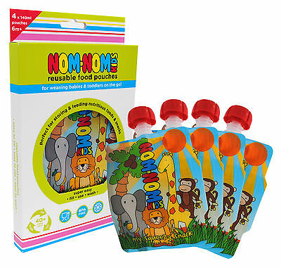 Nom Nom Kids Reusable / refillable Food Pouch pack of 4 - 140ml Animal design
