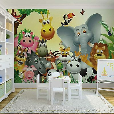 Wallpaper mural for baby bedroom Jungle forest Animals photo wall - Lion Elephan
