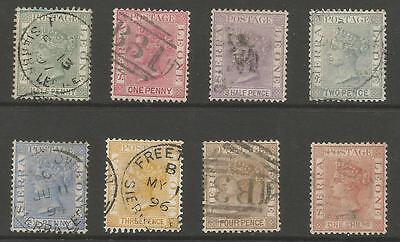 Sierra Leone Sg27-34 The 1884-91 Qv Set Of 8 Fine Used Cat £55