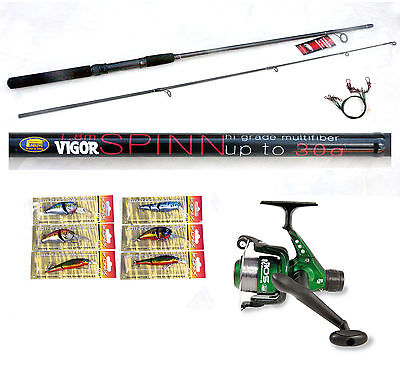 Vigor 6ft Spin Fishing Rod 4-15g & Sol Reel  with 6 Lure/plugs pike zander/perch