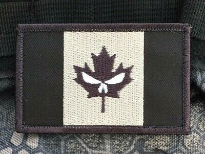 Punisher CANADA ARMY FLAG PATCH COMBAT MORALE MILITARY BLACK MILSPEC ACU