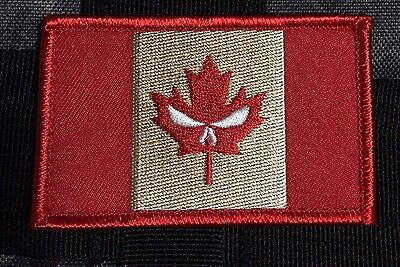 Punisher CANADA ARMY FLAG PATCH COMBAT MORALE MILITARY RED leaf MILSPEC ACU 210
