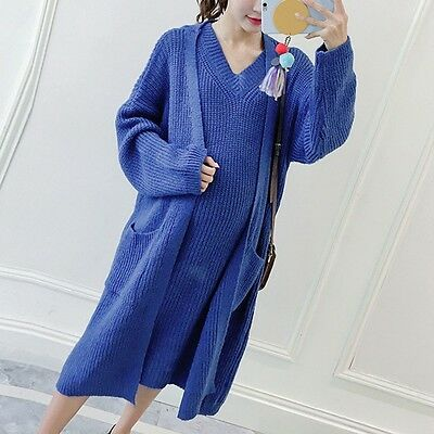 New Pregnant Women Knitted Cardigan Dress Set Loose Pure Color Long Sweater Coat