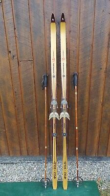 "VINTAGE Wooden 72"" Skis Has BLOND WOOD Finish Signed LAMPINEN"