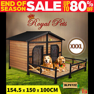 Royal Pet Dog Kennel Wooden House Home Outdoor Box Large 2 Two Door Waterproof