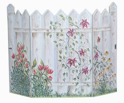 Floral Picket Fence 3 Panel Decorative Fireplace Screen [ID 94608]