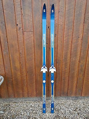 "VINTAGE HICKORY Wooden 70"" Skis Signed SPLITKEIN"