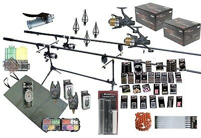 Carp Fishing Kit / Set Rods Reels  Bait Tools Mat Tackle GIANT Accessory Pack