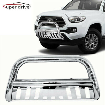 "Fits 2007-2019 TOYOTA TUNDRA 3"" Chrome Round Front Bumper Skid Plate Brush Push"