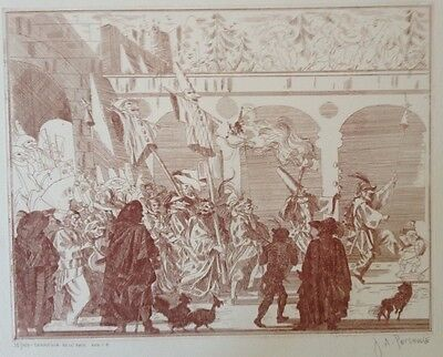 5 Commedia Dell' Arte Lithographs by  Pecsenke, J. A.-SIGNED, LIMITED 150