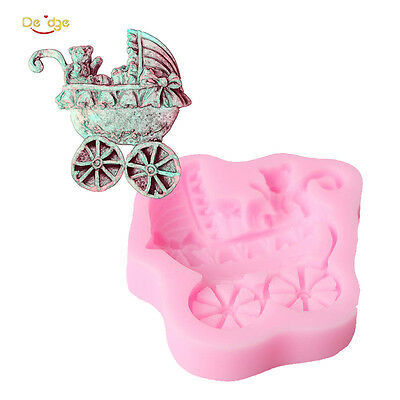 Baby Shower Gift Boxes Candy Carriages Silicone Fondant Chocolate Mold Cake Deco