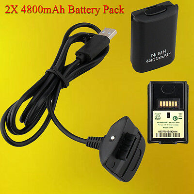 2 X Xbox 360 Charge and Play Kit Rechargeable Battery Pack + Charging USB Cable