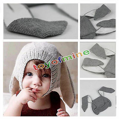Baby Toddler Kids Boy Girl Knitted Crochet Rabbit Ear Beanie Winter Warm Hat Cap