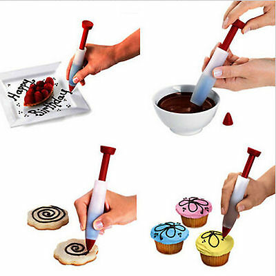 N Silicone Cake Pastry Cookie Icing Decorating Syringe Cream Chocolate Plate Pen