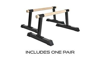 Wood Bar Parallettes Ultimate Body Press Pushup Stands Exercise Gym Equipment