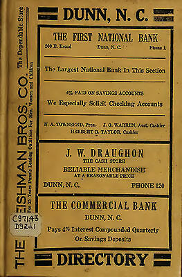 4 vintage old CITY DIRECTORY genealogy research DUNN North Carolina NC family
