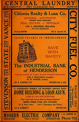HENDERSON North Carolina NC 9 vintage old CITY DIRECTORY genealogy research
