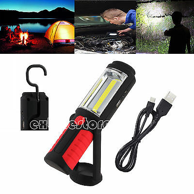 COB LED Rechargeable Flexible Inspection Lamp Hand Torch Work Light+Magnetic 3W