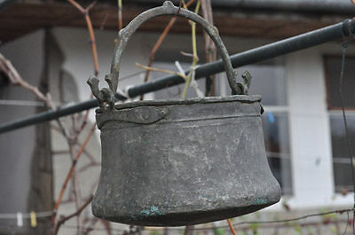Antique Bulgarian Handforged Copper Kettle 19 Century Primitive Pot Bucket