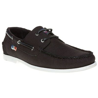 New Mens Superdry Black Canvas Boat Shoes Lace Up