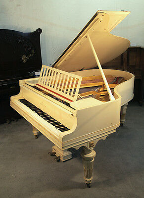 Louis XVI style, 1916, Steinway Model O piano with a cream case and gold accents