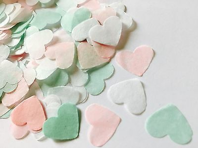 Mint, pink & white heart wedding confetti -biodegradable-party table decorations