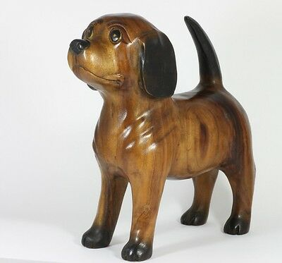 """Wooden Beagle Dog Sculpture Figure Ornament 12"""" Hand Carved Acacia Wood"""